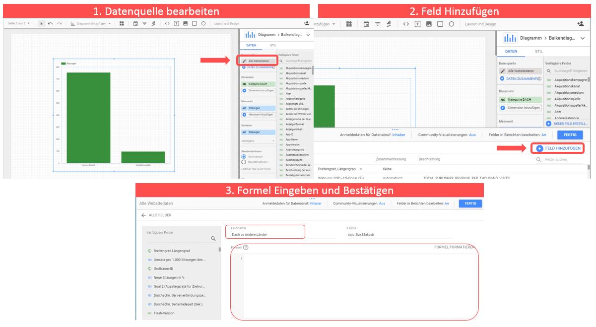 Dach-vs-andere-Länder über CASE Funktion im Google Data Studio zusammenfassen