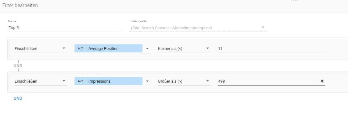 Filterbeispiel im Google Data Studio