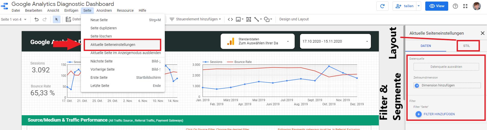 Wie man im Google Data Studio Filter und das Layout auf Seitenebene einstellt