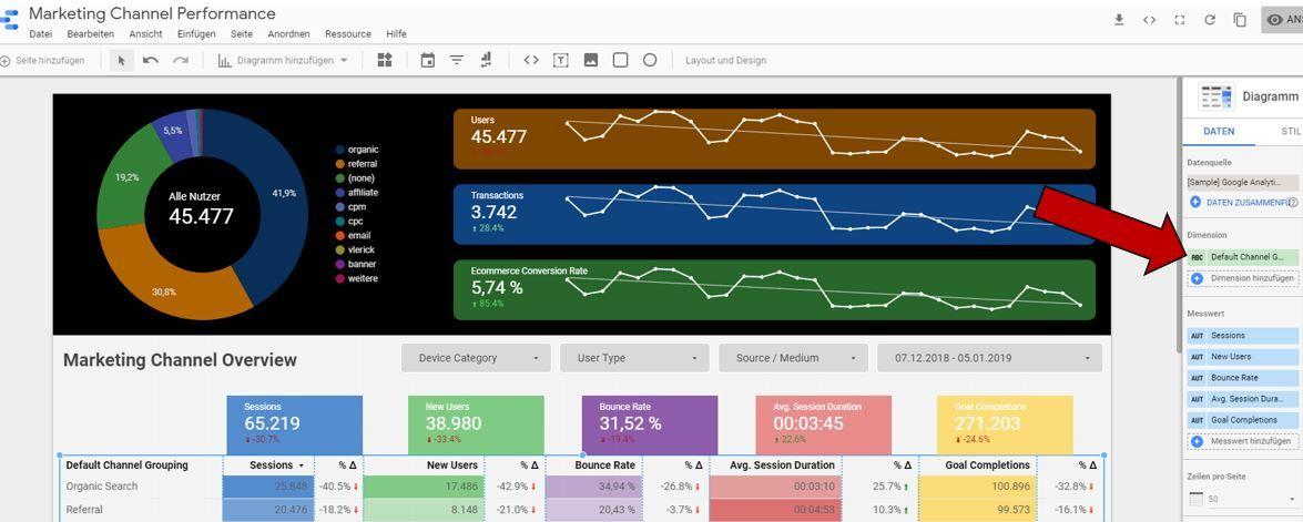 Google Data Studio Dimensions Namen ändern